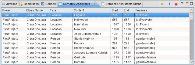 Semantic Assistants view in Eclipse