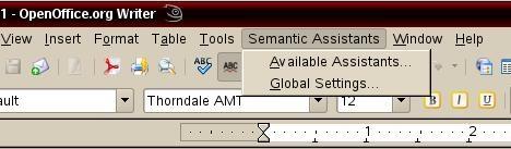 Semantic Assistants menu in OpenOffice