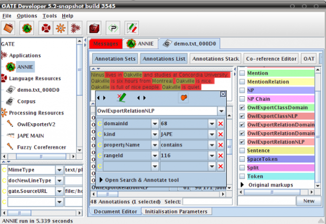 Screenshot of the OwlExporter's Mapping Annotations