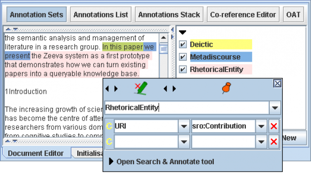 Example annotations generated by Rhetector on a document