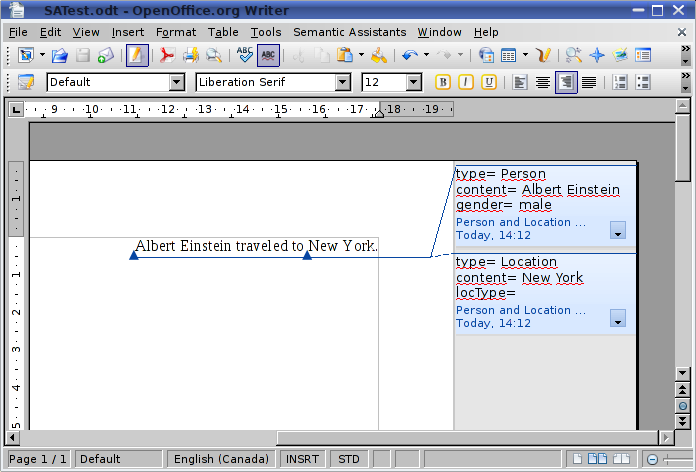 OpenOffice.org Writer with Semantic Assistants